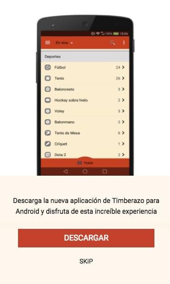 Timberazo app movil